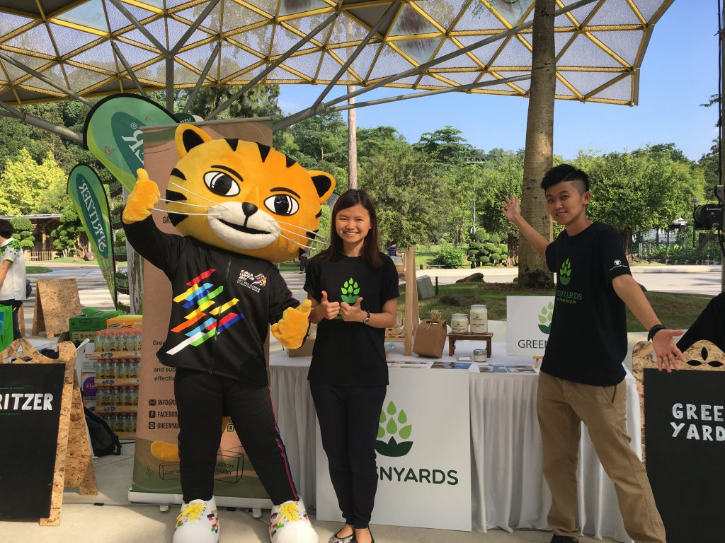 We managed to catch Rimau the mascot to take a photo with us at our booth
